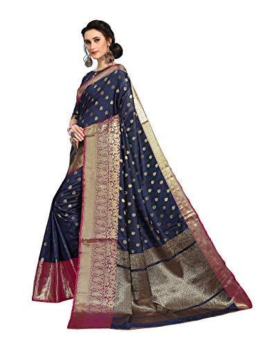Dark Blue Kanjivaram Art Silk Banarasi Blend Sarees with Blouse Piece