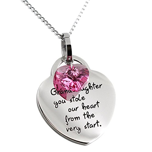'Grandaughter, You Stole Our Heart from the Very Start' Pendant Necklace