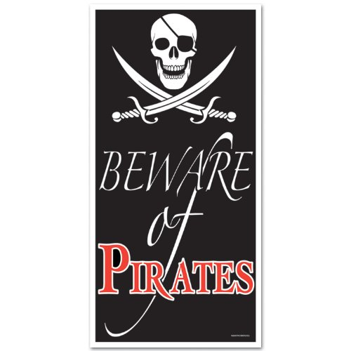 Beistle 50008 Beware of Pirates Door Cover, 30-Inch by 5-Fee