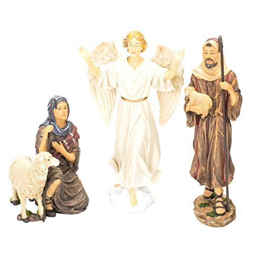 THREE KINGS GIFTS THE ORIGINAL GIFTS OFCHRISTMAS 14 inch Shepherds, Sheep and Angel Set Christmas Nativity