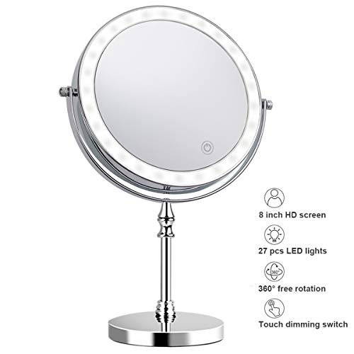 8 Inch Makeup Mirror with Light 1X 10X Magnification Double Sided 360 Degree Rotation LED Vanity Mirror Chrome Finished Touch Control Battery-Powered