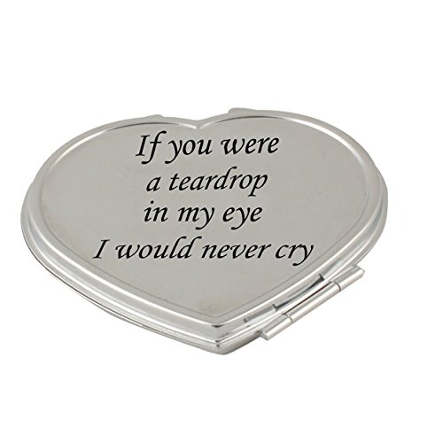 Custom Compact Mirrors (GP Personalized Engraved Silver Heart Shaped Compact Mirror for Custom Wedding Bridsmaid)