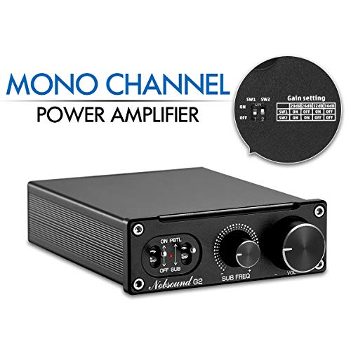 Nobsound G2 100 watt Subwoofer Amp & Mono Amp Switchable; Home Sub Bass Power Amplifier; Full Frequency Mono Channel Power Amplifier; PBTL/BTL Bridge Amp; Gain Control; with Power Supply