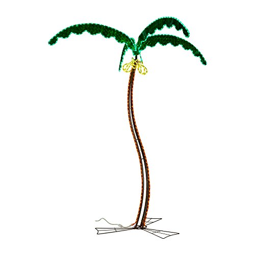 Green LongLife 8080122 7' Coconut Palm Tree with Green Leaves Decorative LED Rope Light 120v by Green LongLife