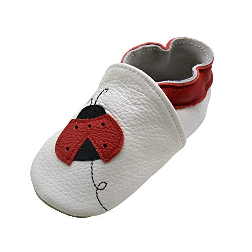iEvolve Baby Shoes Ladybug Baby Toddler Soft Sole Prewalker Baby First Walking Shoes Crib Shoes Baby Moccasins(White Ladybug, 12-18 Months) -