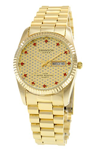 Swanson Men s Gold Day-Date Gold Pave Stone Dial Watch with Travel Case