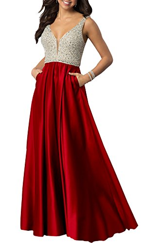 With Red Womens Prom V Pockets Beauty Bridal Dresses Neck Formal Satin Sequined Beaded Y7qwZ8wf
