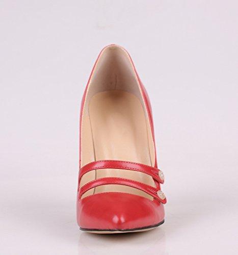 Kolnoo Übergröße Buttoned Damenschuhe Spitze Zehen Stiletto Pumps für Party Hochzeit Rot