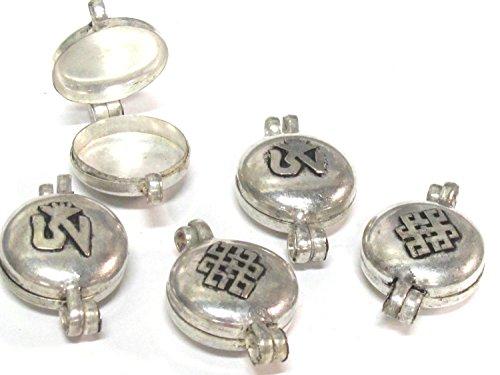 (4 Pendants - Tibetan silver color Ghau prayer box Om with endless knot small size pendant -PM603s)