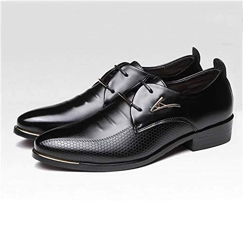 Negocios De Cuero Oxford Hombre Negro Fiesta 2018 Para Casamientos Cordones Casual Boda Con Boda Tamaño Negro Otoño Calzado Puntiagudos 42 color Zapatos Vestir dwXqx5X4