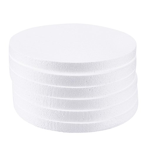 Craft Foam Circle - 6-Pack Polystyrene Foam Disc Foam Round for Sculpture, Modeling, DIY Arts and Crafts - White, 12 x 12 x 1 Inches -