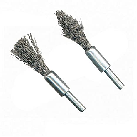 Silverline 190316 2 brosses-pinceaux à décalaminer Queue de 6 mm