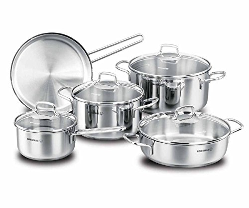Tri Ply Bakeware - korkmaz Perla 9 Piece High-End Stainless Steel Induction-Ready Cookware Set with Tri-Ply Encapsulated Base