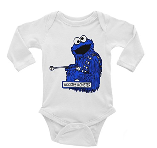 Cookie Wookie Star Wars Cookie Monster Long Sleeve Unisex Onesie (3-6)
