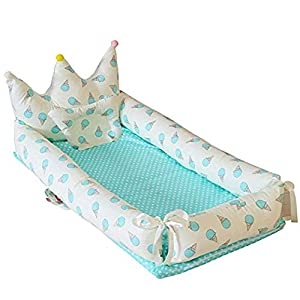 Abreeze Baby Lounger for Newborn Baby Nest for Bedroom Portable Infant Bassinet Sleeper Bed for Co-Sleeping,Breathable Baby Crib for Bedroom/Travel/Camping (Ice-Cream-Blue, L35.4″xW21.6″xH6″)