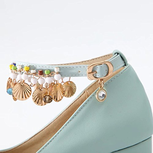 AIYOUMEI Damen Blockabsatz High Heels Knöchelriemchen Pumps mit 7cm Absatz und Strass Elegant High Shoes Blau