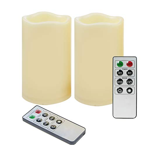 - 2 Pack Waterproof Outdoor Battery Operated Flameless LED Pillar Candles with Remote Timer Flickering Plastic Resin Electric Night Lights Lantern Patio Garden Home Decor Party Wedding Decorations 3