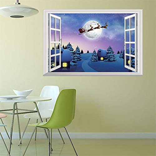 ZOMUSAR Wall Stickers for Window, Merry Christmas Sweet Holiday Scene Setters Party Decorations Wall Stickers (A) ()