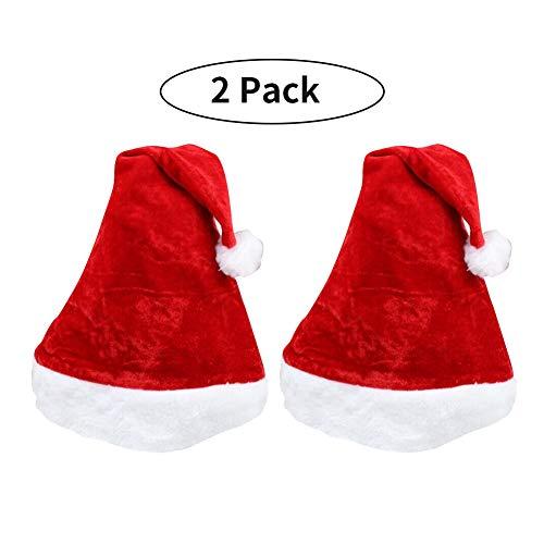 Comfydot Christmas Santa Hats for Adults Women Men Plush Red Velvet Hat Xmas Party Family Hats (2 Pack)