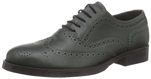 Mujer Mentor Piel Brogue Mentor Gr Zapato Verde Brogue de Shoe 0qUURx6d
