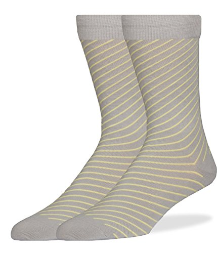 (SPREZZA Men's Diagonal Stripe Crew Dress Socks, Cotton, Size 9-13, Gray & Yellow)