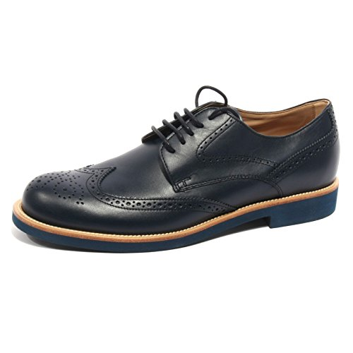 B2028 scarpa uomo TODS ALLACCIATO BUCATURE GOMMA blu shoe me Blu