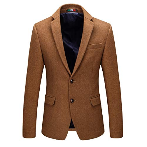 Overcoat XINHEO Camel Solid Fashion Lapel Coat Blazer Fitted Men Notch Woolen w46qRzZw