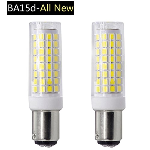 Ba15d light bulb,Dimmable All-NEW 102x2835SMD LED,75W Equivalent Ba15d Double Contact Bayonet Base Halogen Replacement Bulb for Chandelier Crystal Ceiling Lamp Light (Pack of 2) (7W, White) (Double Contact Ba15d Base)