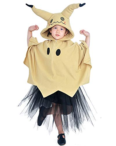 Coskidz Children's Mimikyu Cosplay Costume Hoodie with Ears Tail Skirt Halloween (Khaki)