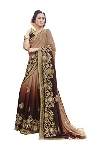 Da Facioun Indian Sarees For Women Wedding Designer Party Wear Traditional Brown,Multi Sari by Da Facioun