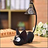 Gold Happy Mini Cute Black Cat Night Light Desktop Resin Figurines Miniatures Home Bedroom Decoration Crafts Kids Gift