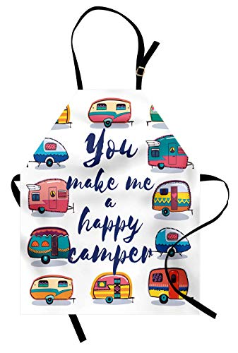 Lunarable Camper Apron, You Make Me Happy Camper Motivational Words with Caravans Retro Style Travel Graphic, Unisex Kitchen Bib Apron with Adjustable Neck for Cooking Baking Gardening, Indigo Yellow