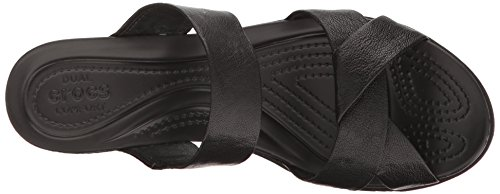 crocs Women's leighann Leather Wedge Sandal, Black/Black, 7 M US by Crocs (Image #8)