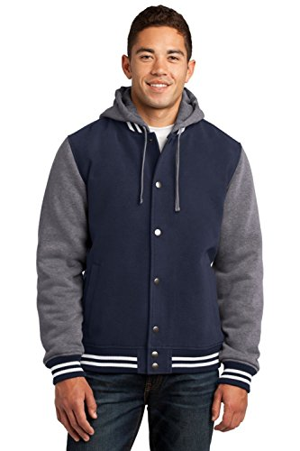 Sport-Tek Men's Insulated Letterman Jacket XL True Navy/Vintage Heather ()