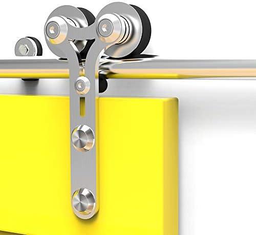 CCJH 6.6FT-200cm Acero Inoxidable Herraje para Puerta Corredera Kit de Accesorios para Puertas Correderas Rueda Riel Juego para Una Puerta de Madera: Amazon.es: Bricolaje y herramientas