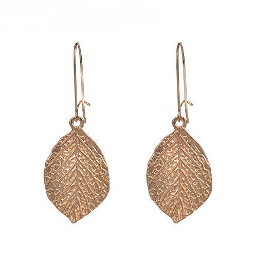 tage National Gold Plated Leaf Pendant Dangle Earring for Womens and Girls ()