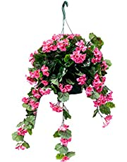 UV Protected Hanging Flowering Arrangement   Silk Plant Decor and More