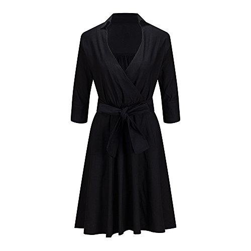 Rétro Élégante Des Femmes Bewish Col Debout Col V Profond Manches Mi-longues Robe Swing Cocktail Soirée Noire