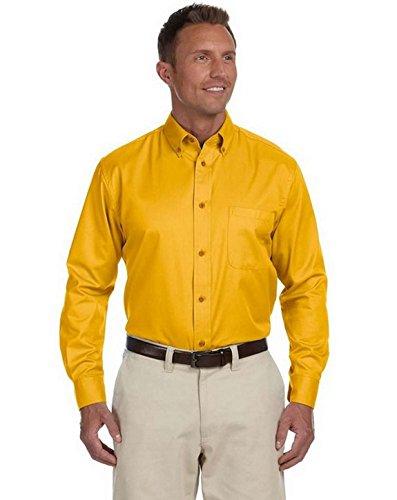 Harriton M500 Mens Easy Blend Twill Shirt Sunray Yellow Large - Harriton Mens Easy Blend