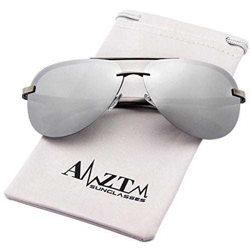 AMZTM Classic Fashion Aviator Polarized Women and Men Sunglasses Metal Frame Mirrored Reflective Silver REVO Lens 100% UV400 Protection (Silver, - Mirrored Sunglasses Colored Aviator