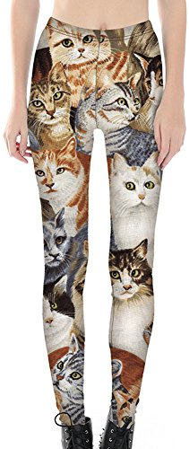 Sister Amy Women's High Waist Pattern Printted Ankle Elastic Tights Legging Cats US XXL