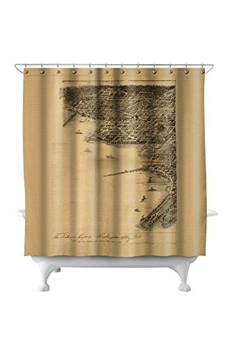 (District of Columbia, Washington - Panoramic Map (71x74 Polyester Shower Curtain))
