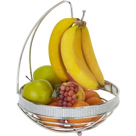 Kitchen Details Round Fruit Basket with Banana Tree in Pave Diamond Design, Chrome