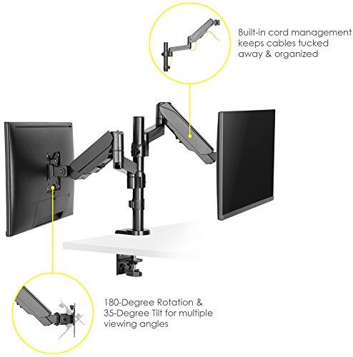 Mindful Design Dual Arm Monitor Mount - Heavy Duty Gas Spring Monitor Stand, Fits Screen Sizes 17'' to 32'' (Black) by Mindful Design (Image #1)