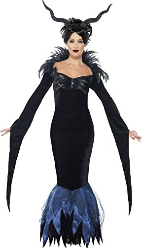 [Smiffy's Women's Lady Raven Costume, Dress and Attached Feathers, Legends of Evil, Halloween, Plus Size 18-20,] (Womens Halloween Costumes Uk)