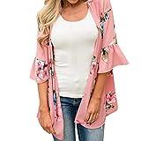 3/4 Sleeve Cardigan for women, Lightweight Fashion Womens Chiffon Shawl Flower Print Kimono Cardigan Top Cover Up Blouse Ruffle Beachwear (L, Pink)