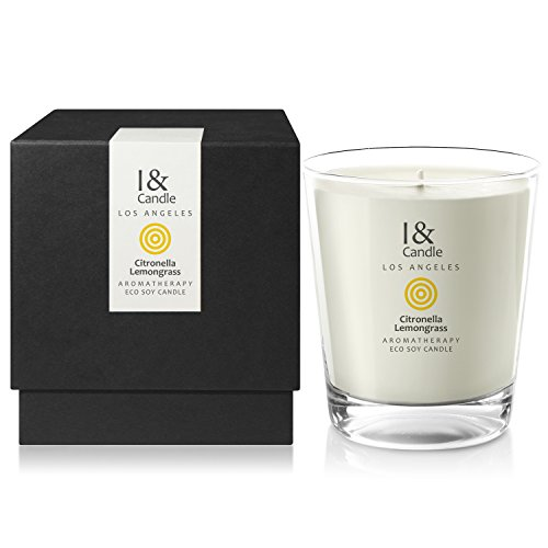 Candle Ounce 10.5 - I & CANDLE, CITRONELLA & LEMONGRASS AROMATHERAPY ECO SOY CANDLE. 100% Natural Mosquito(Bug) Repellent Candle. Made in the USA with Pure Essential Oils Blend and All Natural Ingredients. 10.5 oz.(297g)