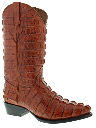 El Presidente - Men's Cognac Full Crocodile Tail Print Cowboy Boots J Toe 11 D(M) US