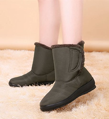 Scarpa Pelliccia Neve Donna Stivali Da Caldi Inverno Verde Yiiquan Boots Stivaletti Impermeabile SwUqYqxa4