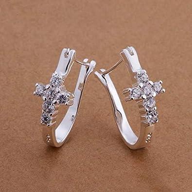 Plata color moda encanto creativo mujer modelos boda lujo cristal piedra cruza pendientes joyería de la boda